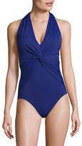 Michael Michael Kors Deep V-Neck Twist Front One-Piece Swimsuit