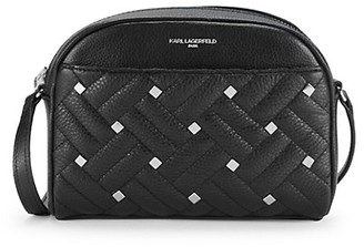 Karl Lagerfeld Paris Studded Woven Leather Crossbody Bag