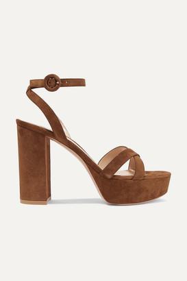 Gianvito Rossi Poppy 100 Suede Platform Sandals - Tan