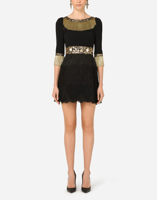 Dolce & Gabbana Short Cady Dress With Lace Inserts And Fringing