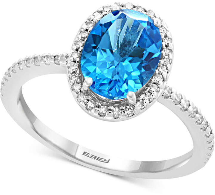 Effy Blue Topaz (2-1/4 ct. t.w.) & Diamond (1/4 ct. t.w.) Ring in 14k White Gold