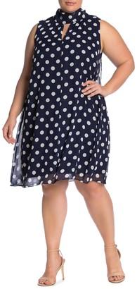 London Times Polka Dot Neck Tie Sleeveless Dress (Plus Size)