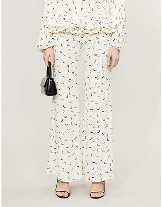 Paper London Moonlight graphic-print high-rise flared trousers