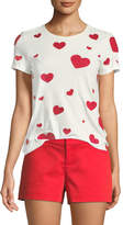 Alice + Olivia Rylyn Crewneck Heart-Embroidered Top