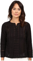 Rebecca Taylor Embroidered Gauze Long Sleeve Embroidered Gauze Top
