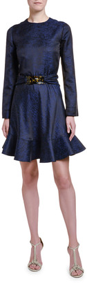 Giorgio Armani Lightweight Silk-Jacquard Flounce Dress