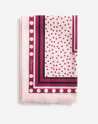 Dolce & Gabbana Polka-Dot Print Cotton Sarong 110 X 190