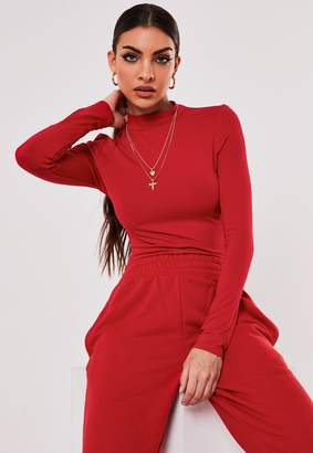 Missguided Red Funnel Neck Top