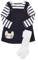 F&F Knitted Pinafore with Striped Bodysuit and Tights, Infant Girl's