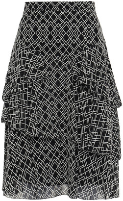 Joie Tiered Printed Silk-georgette Skirt