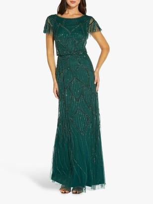 Adrianna Papell Blouson Floral Embellished Maxi Gown, Dusty Emerald