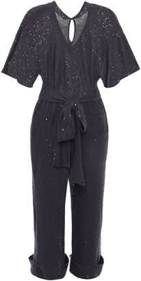 Brunello Cucinelli Cropped Embellished Linen And Silk-blend Jumpsuit