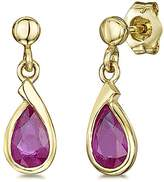 Theia 9ct Yellow Gold 'Ruby' Pearshaped Stud Drop Earrings