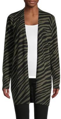 Saks Fifth Avenue Zebra-Print Cashmere Cardigan