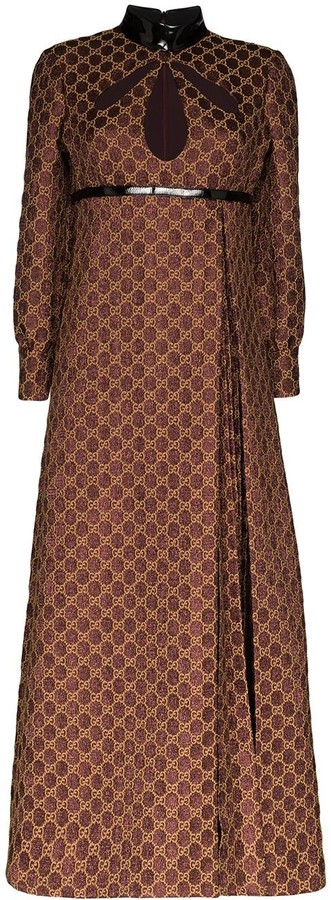 Gucci Monogram-Print Pleated Dress