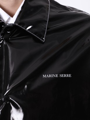 Marine Serre Black Long Patent Rain Jacket