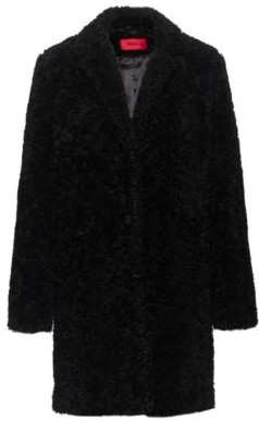 HUGO BOSS Button-through coat in teddy fabric