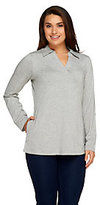 Denim & Co. As Is Active Petite Roll-Tab Sleeve Knit Tunic