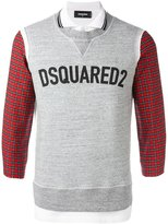 DSQUARED2 logo sweatshirt detail polo shirt - men - Cotton - L