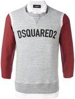 DSQUARED2 logo sweatshirt detail polo shirt - men - Cotton - M