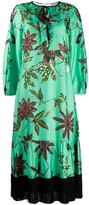 Schumacher Dorothee fringed detail floral print silk dress