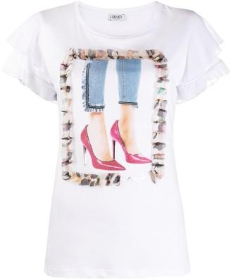 Liu Jo graphic-print flounce-sleeve T-shirt