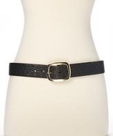 Betsey Johnson Black & Gold Embossed Lip Reversible Belt