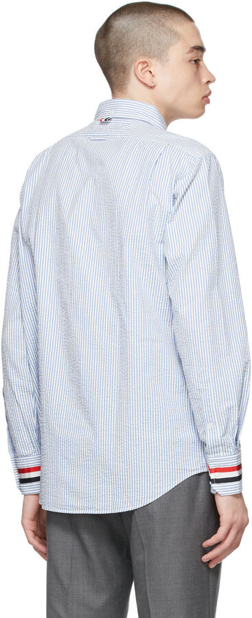 Thumbnail for your product : Thom Browne Blue Seersucker Stripe Classic Shirt