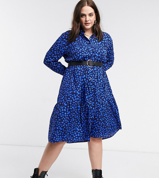 Wednesday's Girl Curve midi shirt dress with tiered skirt in tonal smudge dots