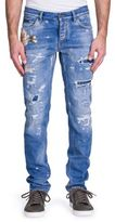 Dolce & Gabbana Floral Applique Distressed Denim