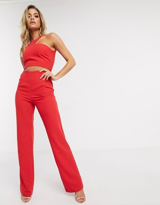 Vesper cut out jumpsuit in red