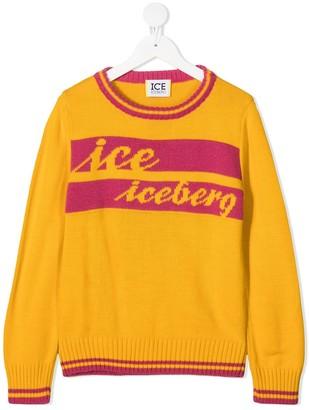 Iceberg Kids Logo-Embroidered Fine Knit Jumper