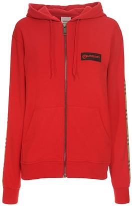 Burberry Zip-up Jersey Sweatshirt W/ Check Detail