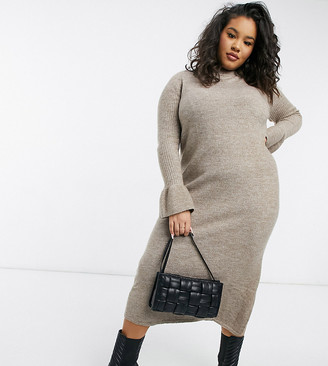 ASOS DESIGN Curve knitted dress with bell sleeve detail in taupe