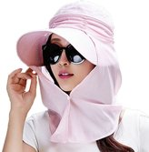 Siggi Womens Multi-function Wide Brim Summer Sun Flap Cap Visor Hat Neck Cover Face Mask UPF 50+ Pink