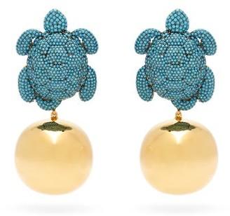 BEGÜM KHAN Caretta Party 24kt Gold-plated Clip Earrings - Blue Multi