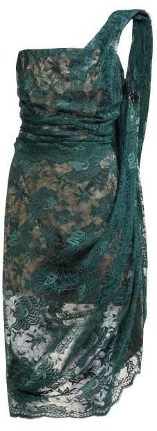 Vivienne Westwood Asymmetric Floral Lace Bustier Midi Dress - Womens - Green Multi