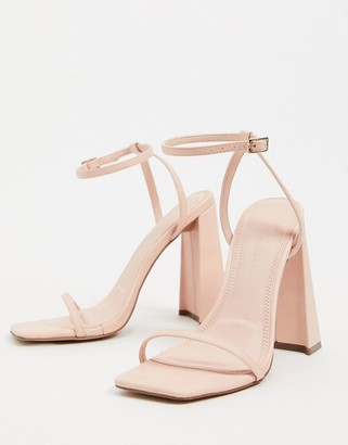 ASOS DESIGN Niche barely there block heeled sandals in peach