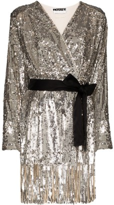 Rotate by Birger Christensen Samantha belted sequinned mini dress