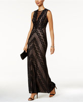 Night Way Nightway Illusion Lace Gown