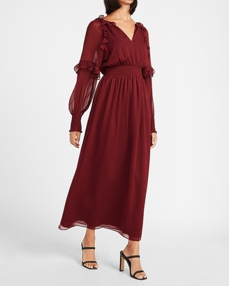 Express Smocked Waist Ruffle Front Maxi Dress