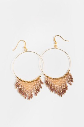 francesca's Aila Beaded Chandelier Earrings - Pale Pink