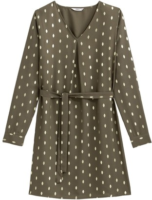 Only Polka Dot Shift Dress with Long Sleeves and Tie-Waist