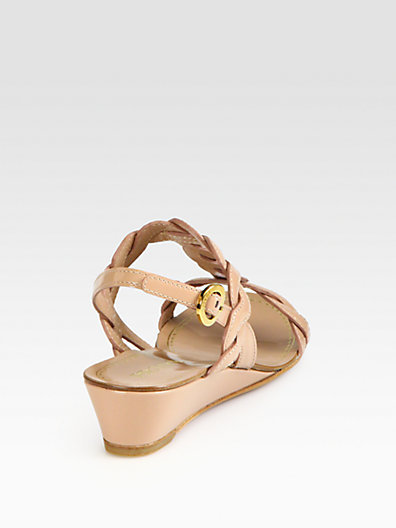 Prada Patent Leather Demi-Wedge Sandals