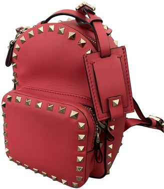 Valentino Rockstud Red Leather Backpacks
