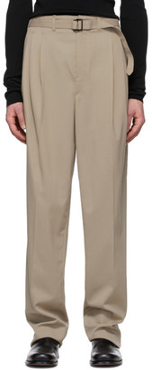 Lemaire Beige Belted Pleat Trousers