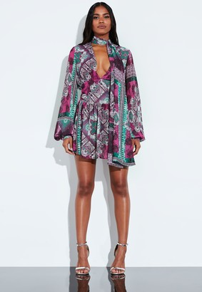 Missguided Pink Printed Balloon Sleeve Tie Dress