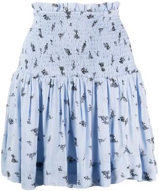 Ganni Floral Print Smock Skirt