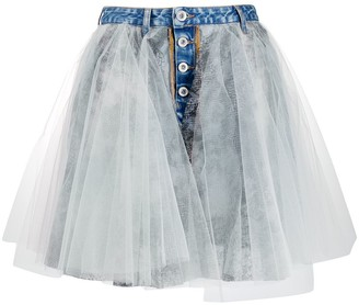 Unravel Project Tulle Overlay Denim Skirt
