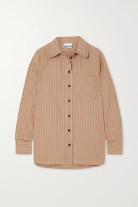 Ganni Ruffled Striped Organic Cotton Shirt - Beige